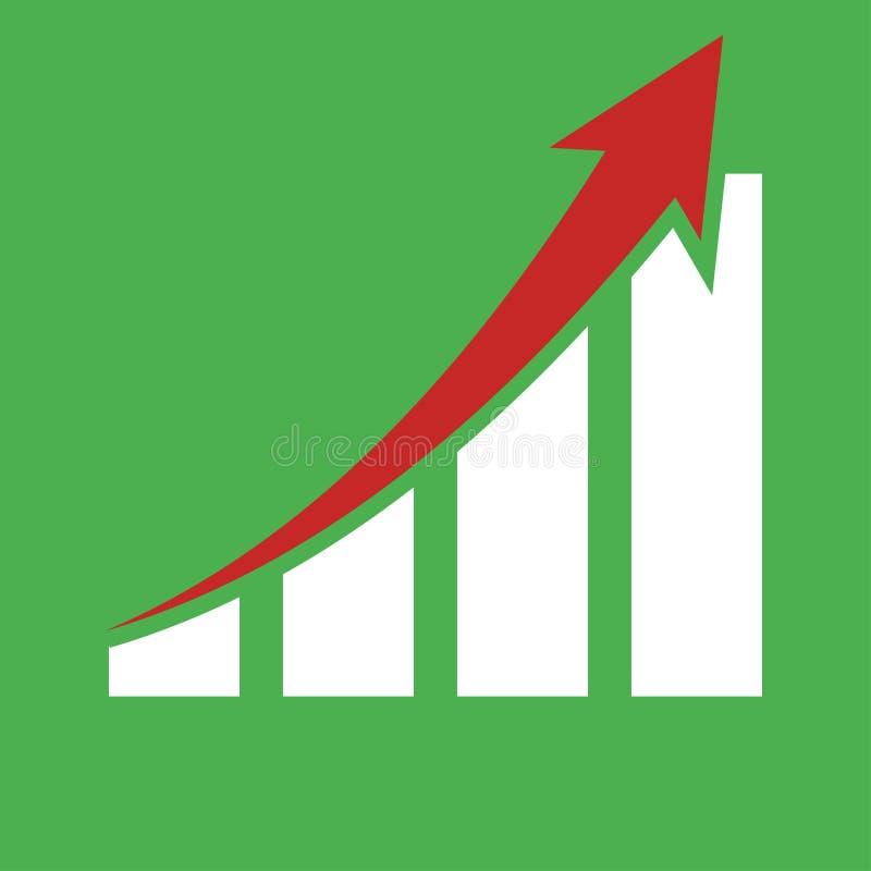 γραφική παρουσιάζοντας αύξηση κόκκινο βέλος πράσινο υπόβαθρο απεικόνιση αποθεμάτων