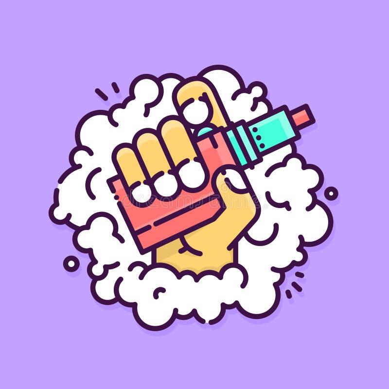 Γραφική συσκευή εκμετάλλευσης χεριών vape στη διανυσματική απεικόνιση υποβάθρου καπνού απεικόνιση αποθεμάτων