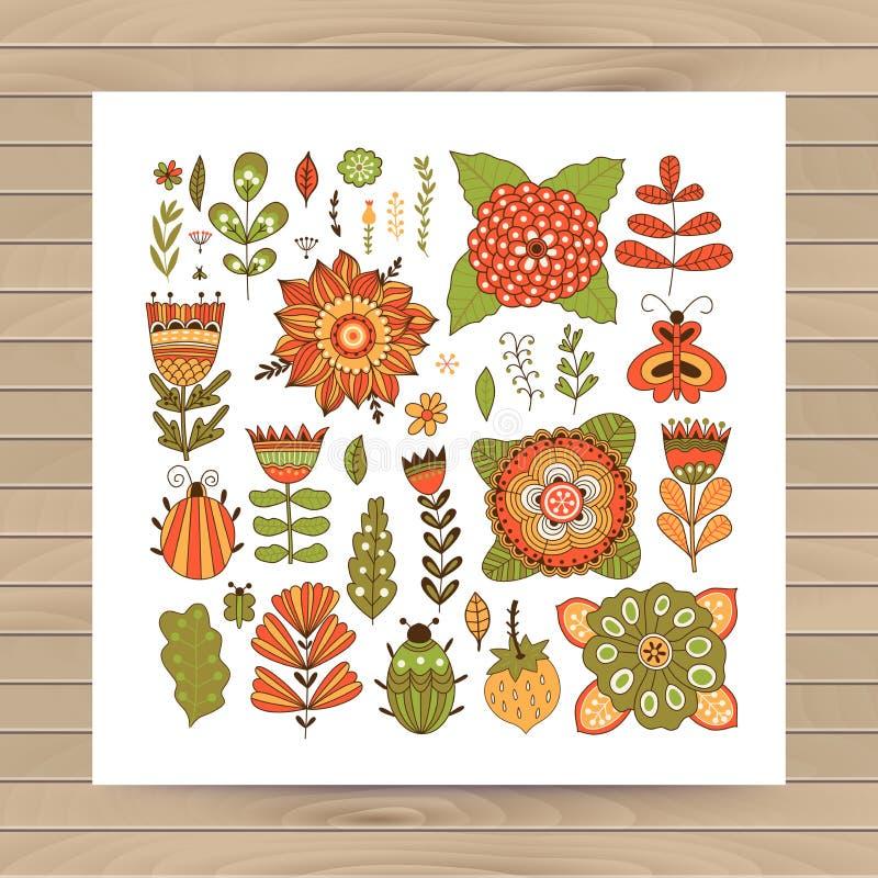 Γραφική συλλογή με τα φύλλα, χορτάρια, ζωύφια, πεταλούδες και λουλούδια, που σύρουν τα στοιχεία απεικόνιση αποθεμάτων