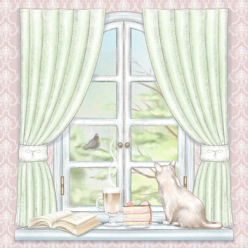Γραφική σύνθεση μολυβιών Watercolor και μολύβδου με τη συνεδρίαση καφέ, κέικ, βιβλίων και γατών στο παράθυρο με τις πράσινα κουρτ διανυσματική απεικόνιση