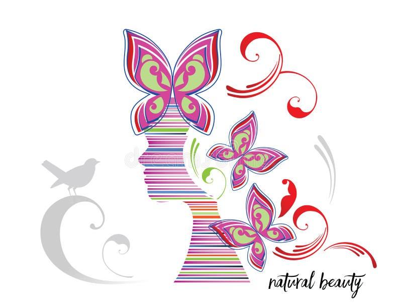 Γραφική φυσική ομορφιά γυναικών απεικόνιση αποθεμάτων