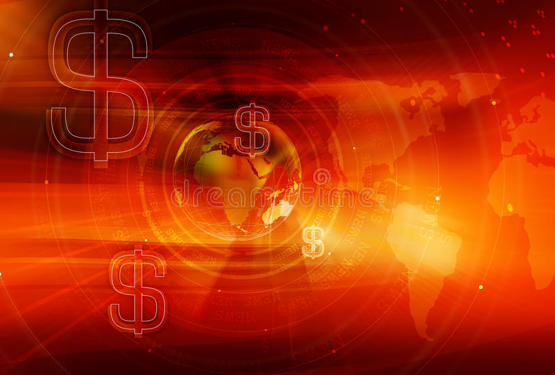 Γραφική χρηματοδότηση και σφαιρική σειρά έννοιας επιχειρησιακού υποβάθρου απεικόνιση αποθεμάτων