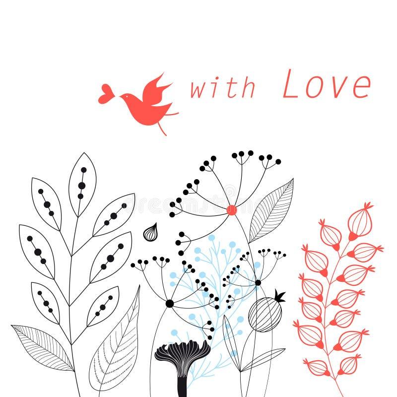 Γραφική floral κάρτα διανυσματική απεικόνιση