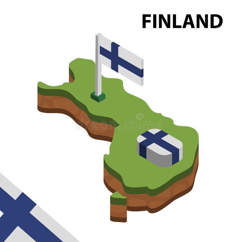 Γραφικοί Isometric χάρτης πληροφοριών και σημαία της ΦΙΝΛΑΝΔΙΑΣ τρισδιάστατη isometric διανυσματική απεικόνιση ελεύθερη απεικόνιση δικαιώματος