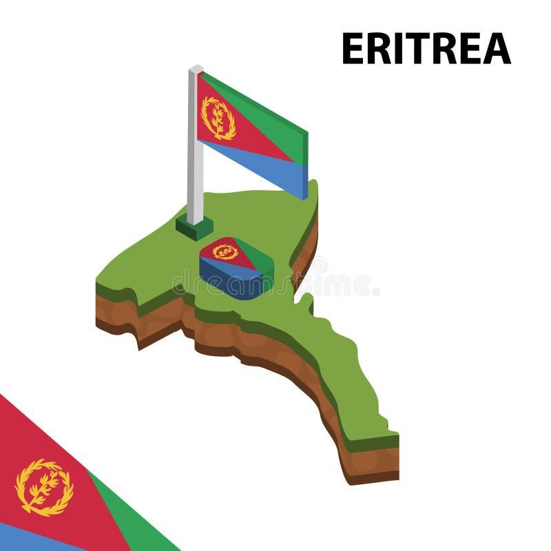 Γραφικοί Isometric χάρτης πληροφοριών και σημαία της ERITREA τρισδιάστατη isometric διανυσματική απεικόνιση ελεύθερη απεικόνιση δικαιώματος