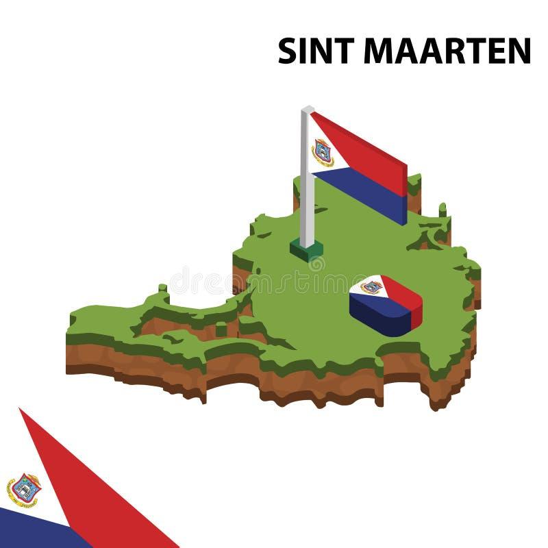 Γραφικοί Isometric χάρτης πληροφοριών και σημαία SINT MAARTEN τρισδιάστατη isometric διανυσματική απεικόνιση ελεύθερη απεικόνιση δικαιώματος