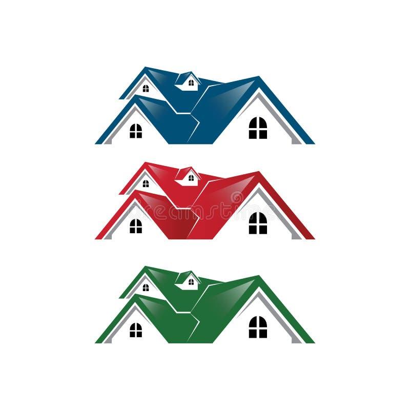 Γραφικός απλός σύγχρονος λογότυπων ακίνητων περιουσιών σπιτιών μπλε κόκκινο πράσινο χρώμα ελεύθερη απεικόνιση δικαιώματος