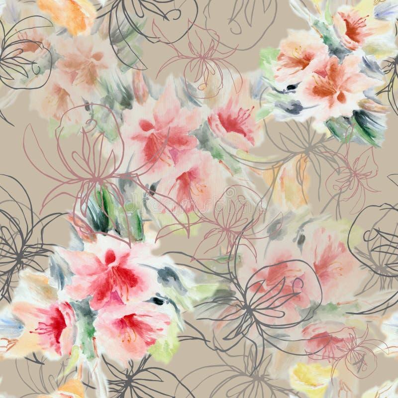 Γραφικός αυξήθηκε με τα λουλούδια ανθοδεσμών watercolor σε ένα λεπτό ιώδες υπόβαθρο floral πρότυπο άνευ ραφής ελεύθερη απεικόνιση δικαιώματος