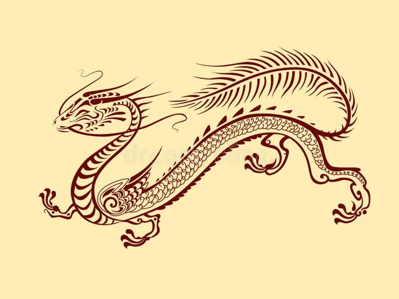 Γραφικός δράκος φαντασίας στο ιαπωνικό ύφος διανυσματική απεικόνιση
