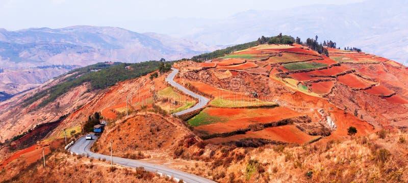 Γραφικός δρόμος βουνών με τους ζωηρόχρωμους τομείς πεζουλιών στην άνοιξη στοκ εικόνες