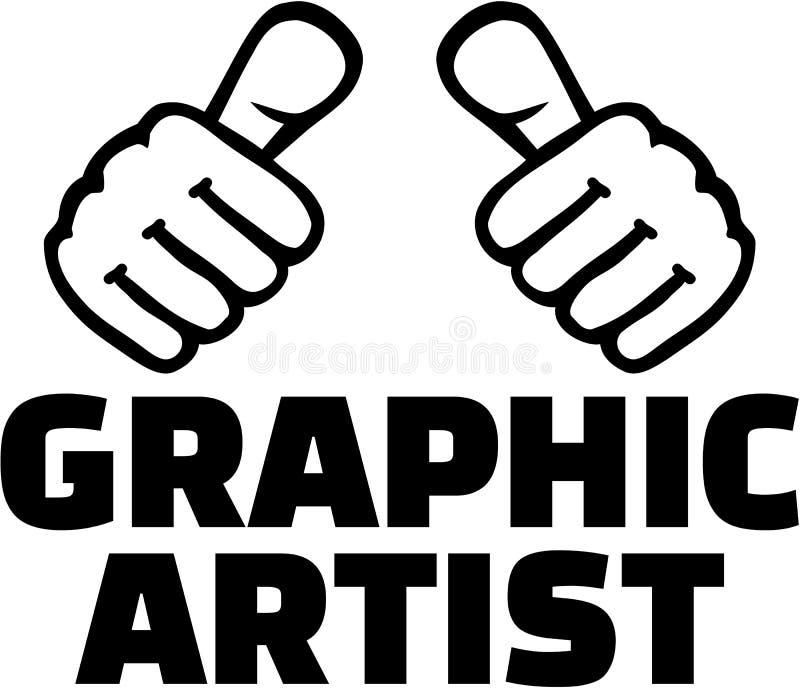 Γραφικός καλλιτέχνης με τους αντίχειρες απεικόνιση αποθεμάτων