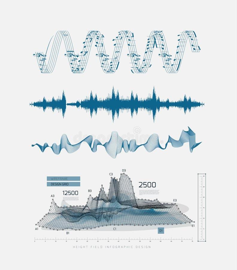 Γραφικός μουσικός εξισωτής, υγιή κύματα, σε ένα ανοικτό γκρι υπόβαθρο διανυσματική απεικόνιση