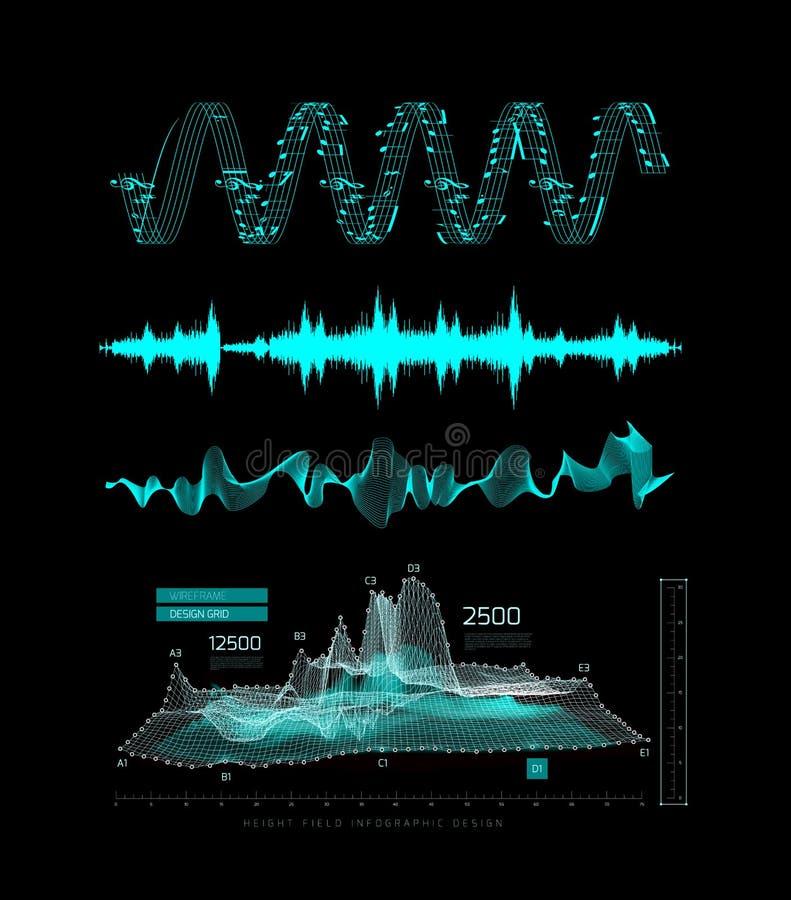 Γραφικός μουσικός εξισωτής, υγιή κύματα, σε ένα μαύρο υπόβαθρο διανυσματική απεικόνιση