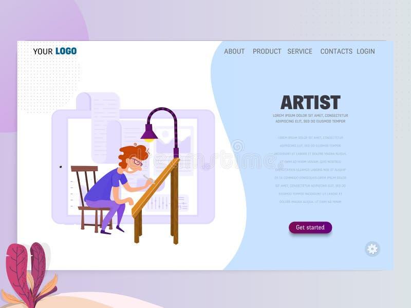 Γραφικός σχεδιαστής, καλλιτέχνης - επισύρει την προσοχή στην ταμπλέτα, επίπεδο ύφος E διανυσματική απεικόνιση
