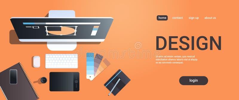 Γραφικός σχεδιαστών δημιουργικός εργασιακών χώρων σχεδίου στούντιο υπολογιστής γραφείου άποψης γωνίας έννοιας τοπ με το ψηφιακό χ απεικόνιση αποθεμάτων