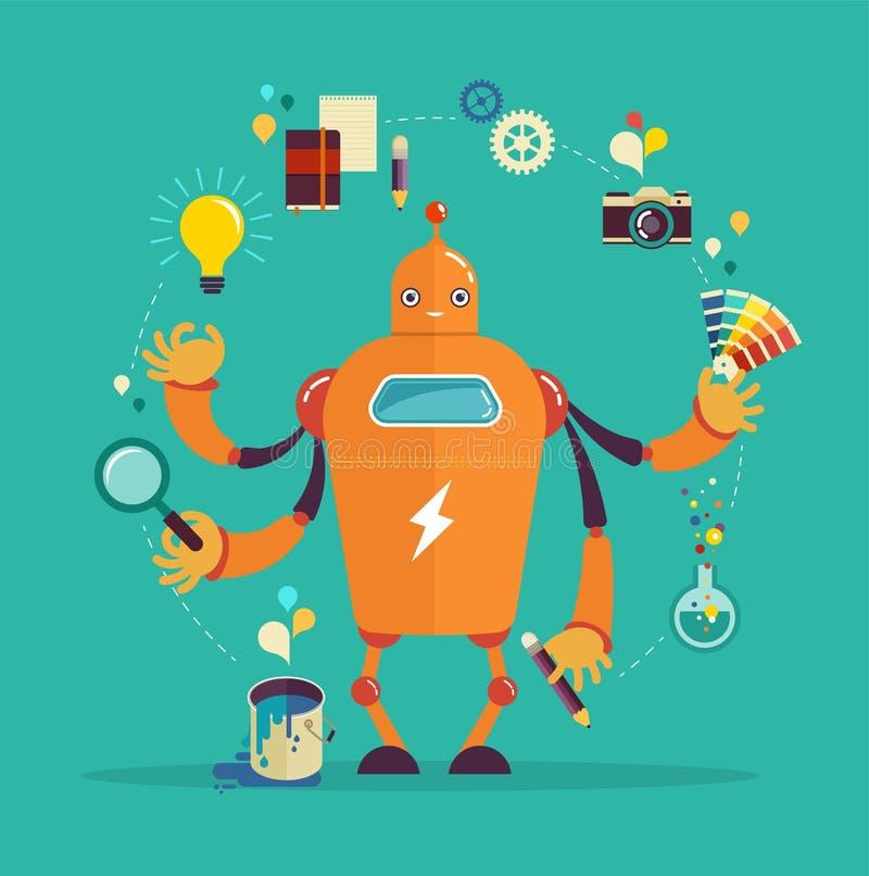 Γραφικός σχεδιαστής ρομπότ - δημιουργική σκέψη απεικόνιση αποθεμάτων