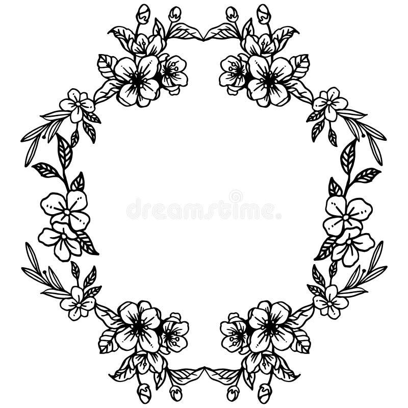 Γραφικός του γραπτού πλαισίου με το φυτό σχεδίου του floral πλαισίου φύλλων r διανυσματική απεικόνιση