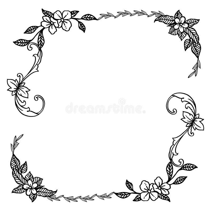 Γραφικός του πλαισίου λουλουδιών φύλλων, γραπτά χρώματα, περίκομψα της διάφορης κάρτας r ελεύθερη απεικόνιση δικαιώματος