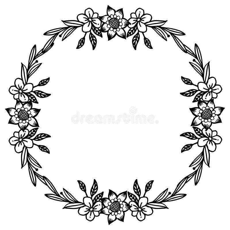 Γραφικός του πλαισίου λουλουδιών φύλλων, γραπτά χρώματα, περίκομψα της διάφορης κάρτας r απεικόνιση αποθεμάτων