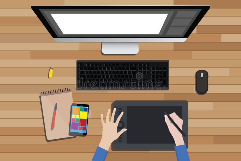 Γραφικός χώρος εργασίας σχεδίου με την ψηφιακή σκιαγράφηση και το όργανο ελέγχου απεικόνιση αποθεμάτων
