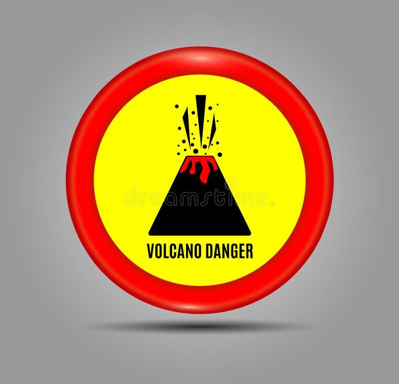 Γραφικό έμβλημα με το ηφαίστειο κινδύνου κειμένων Στρογγυλό κόκκινο εικονίδιο, σημάδι, σύμβολο, ένδειξη της ηφαιστειακής έκρηξης  απεικόνιση αποθεμάτων