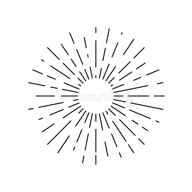 Γραφικό γραμμικό εικονίδιο ήλιων ακτίνων απεικόνιση αποθεμάτων