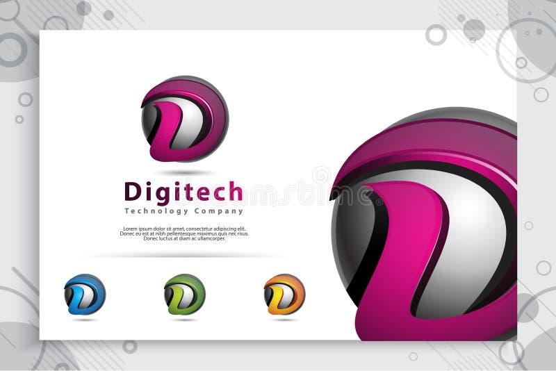 Γραφικό διανυσματικό λογότυπο γραμμάτων Δ με τη σύγχρονη τρισδιάστατη έννοια ύφους σχεδίου ψηφιακή δημιουργική απεικόνιση του τρι διανυσματική απεικόνιση