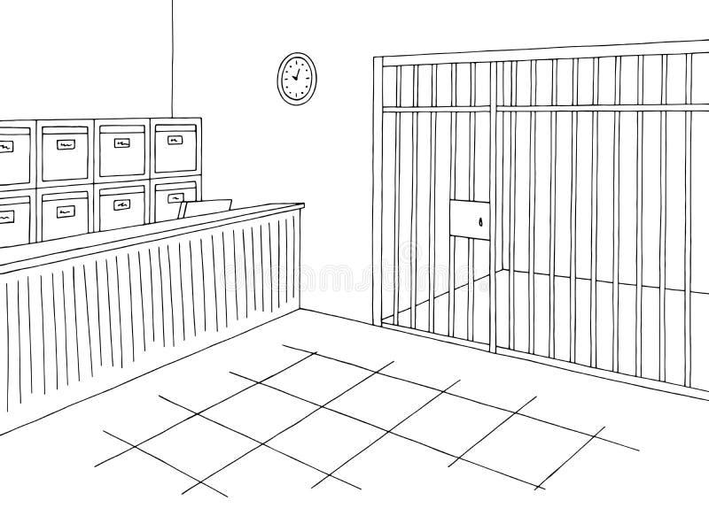 Γραφικό εσωτερικό μαύρο άσπρο διάνυσμα απεικόνισης σκίτσων γραφείων αστυνομίας απεικόνιση αποθεμάτων