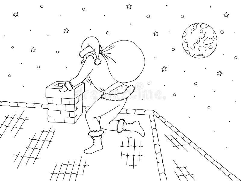 Γραφικό μαύρο άσπρο διάνυσμα απεικόνισης σκίτσων στεγών Άγιος Βασίλης αναρριχείται στην καπνοδόχο απεικόνιση αποθεμάτων