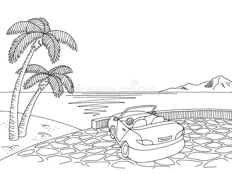 Γραφικό μαύρο άσπρο διάνυσμα απεικόνισης σκίτσων τοπίων καμπριολέ παραλιών ελεύθερη απεικόνιση δικαιώματος