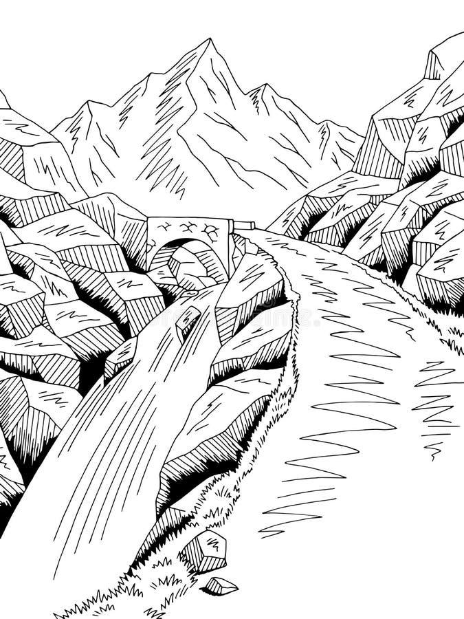 Γραφικό μαύρο άσπρο διάνυσμα απεικόνισης σκίτσων τοπίων καταρρακτών ποταμών οδικών γεφυρών βουνών απεικόνιση αποθεμάτων