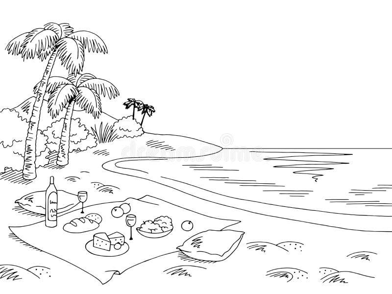 Γραφικό μαύρο άσπρο διάνυσμα απεικόνισης σκίτσων τοπίων παραλιών πικ-νίκ απεικόνιση αποθεμάτων