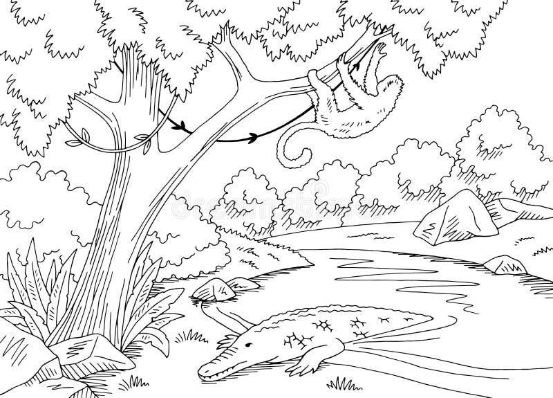 Γραφικό μαύρο άσπρο διάνυσμα απεικόνισης σκίτσων τοπίων ποταμών ζουγκλών διανυσματική απεικόνιση