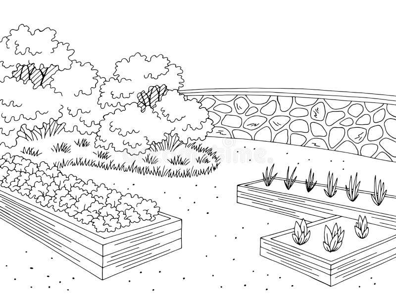 Γραφικό μαύρο άσπρο διάνυσμα απεικόνισης σκίτσων τοπίων κήπων αγοράς διανυσματική απεικόνιση