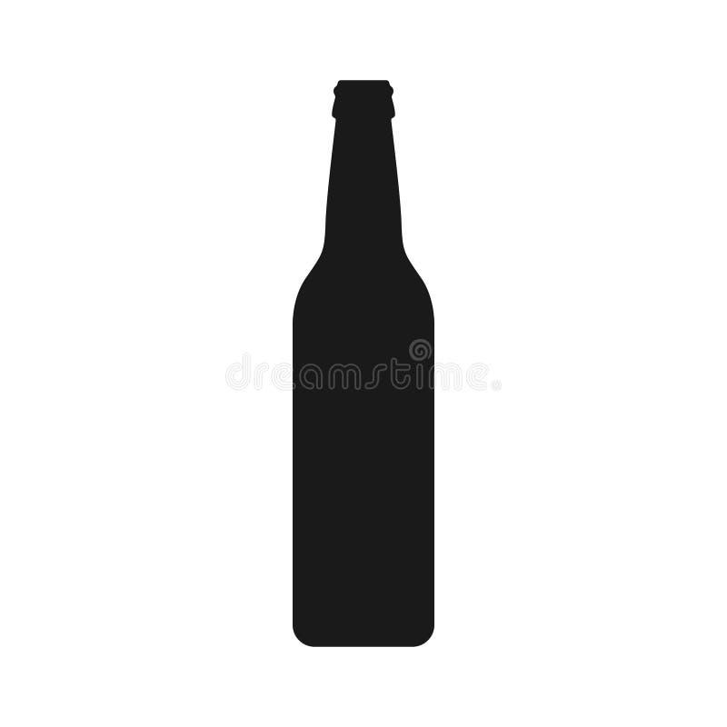 Γραφικό μαύρο εικονίδιο μπουκαλιών μπύρας που απομονώνεται στο άσπρο υπόβαθρο απεικόνιση αποθεμάτων