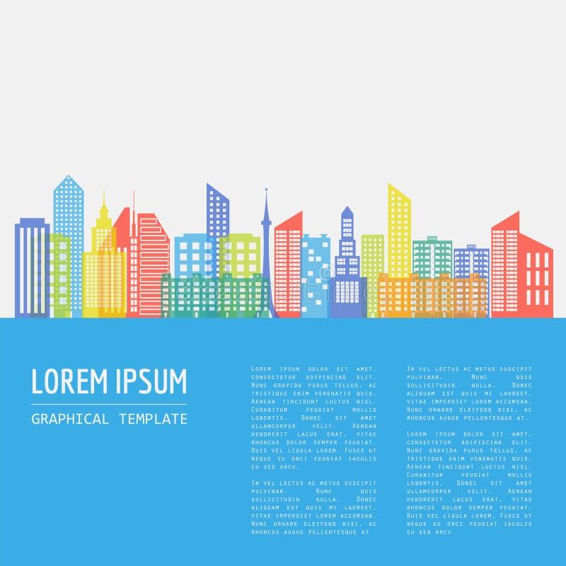Γραφικό πρότυπο εικονικής παράστασης πόλης πόλη αρχιτεκτονικής σύγχρ& Διάνυσμα άρρωστο διανυσματική απεικόνιση