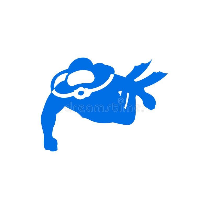 Γραφικό πρότυπο λογότυπων κατάδυσης με την κολύμβηση δυτών υποβρύχια, vec ελεύθερη απεικόνιση δικαιώματος