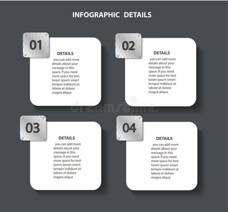 Γραφικό πρότυπο πληροφοριών μετάλλων πιάτων με 4 επιλογές Μπορέστε να χρησιμοποιηθείτε για τον Ιστό, διάγραμμα, γραφική παράσταση ελεύθερη απεικόνιση δικαιώματος