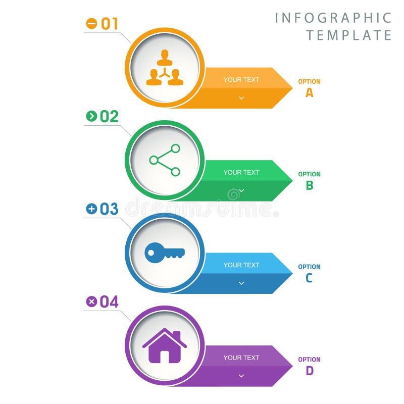 Γραφικό πρότυπο πληροφοριών κύκλων με τα εικονίδια στο άσπρο υπόβαθρο ελεύθερη απεικόνιση δικαιώματος