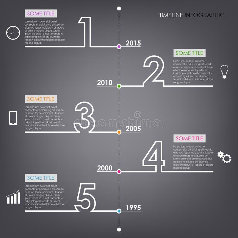 Γραφικό πρότυπο σχεδίου αριθμού πληροφοριών χρονικών γραμμών διανυσματική απεικόνιση