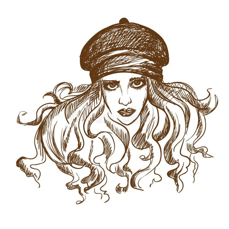 Γραφικό σκίτσο ενός κοριτσιού επίσης corel σύρετε το διάνυσμα απεικόνισης στοκ εικόνες