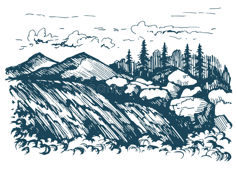 Γραφικό σκίτσο τοπίων καταρρακτών απεικόνιση αποθεμάτων