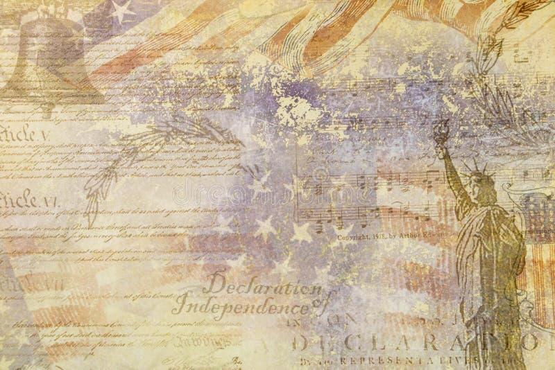 Γραφικό στις 4 Ιουλίου δήλωσης ανεξαρτησίας των πόρων, ΗΠΑ διανυσματική απεικόνιση