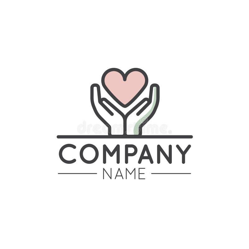 Γραφικό στοιχείο λογότυπων για τις μη κερδοσκοπικά οργανώσεις και το κέντρο δωρεάς απεικόνιση αποθεμάτων
