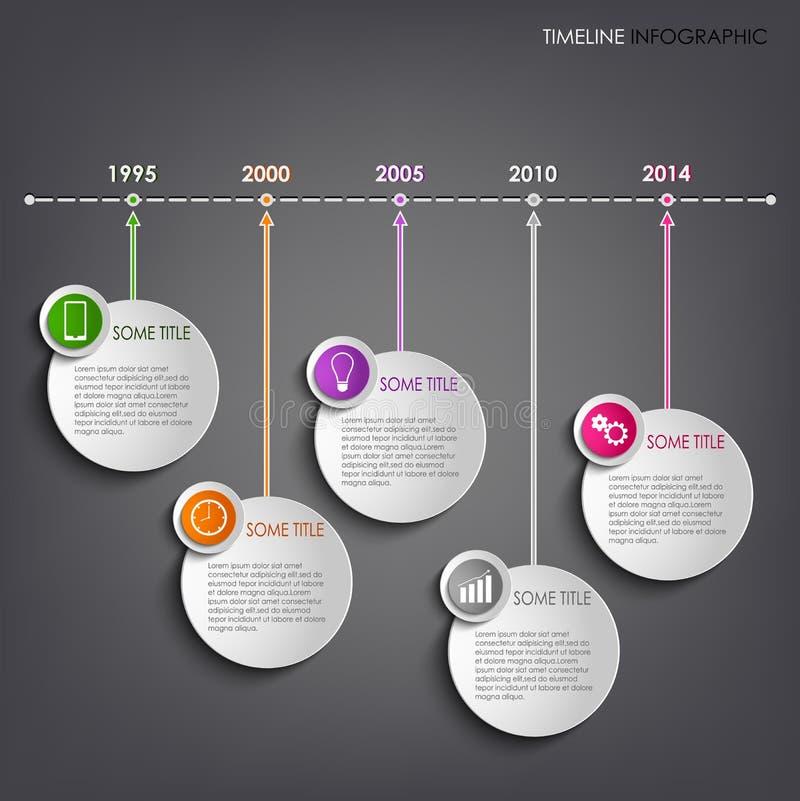 Γραφικό στρογγυλό υπόβαθρο προτύπων πληροφοριών χρονικών γραμμών διανυσματική απεικόνιση