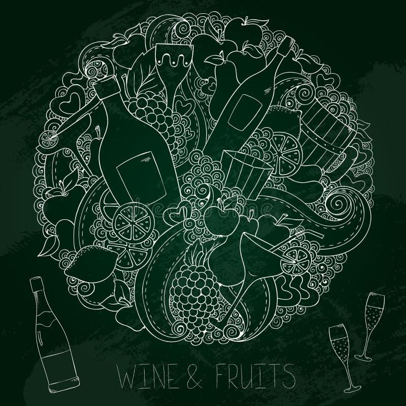 Γραφικό συρμένο χέρι σύνολο κρασιού πινάκων κιμωλίας διανυσματική απεικόνιση