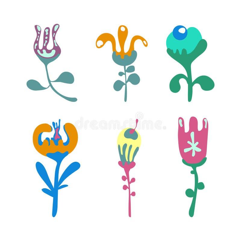 Γραφικό σχέδιο λουλουδιών Διανυσματικό σύνολο floral στοιχείων με συρμένα τα χέρι λουλούδια διανυσματική απεικόνιση