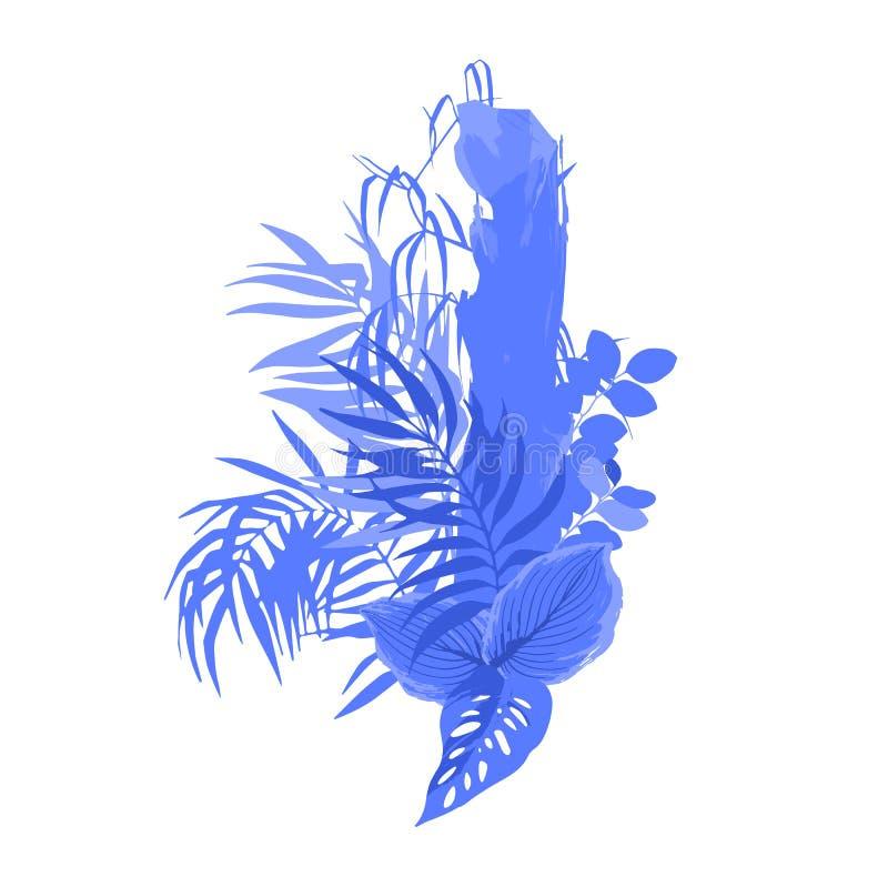 Γραφικό σχέδιο με τα εξωτικά φύλλα και τα δέντρα στα μπλε χρώματα απεικόνιση αποθεμάτων