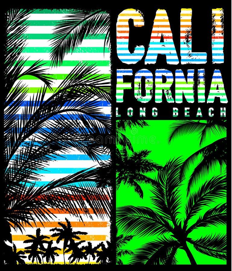 Γραφικό σχέδιο θερινών μπλουζών Καλιφόρνιας Μαϊάμι απεικόνιση αποθεμάτων