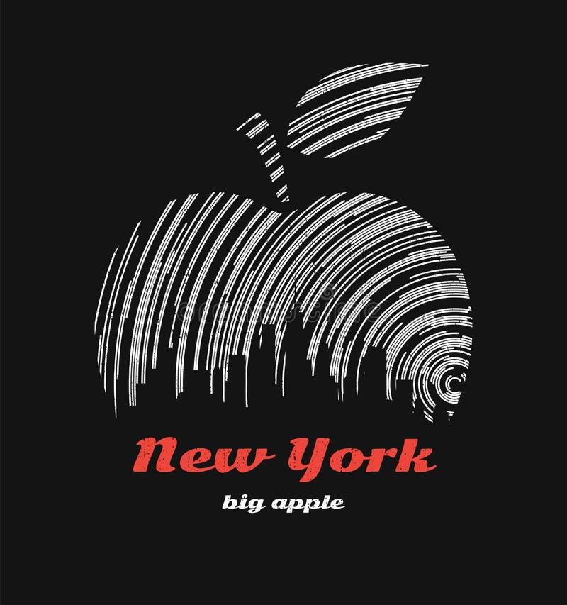 Γραφικό σχέδιο μπλουζών μήλων της Νέας Υόρκης μεγάλο με τον ορίζοντα πόλεων απεικόνιση αποθεμάτων